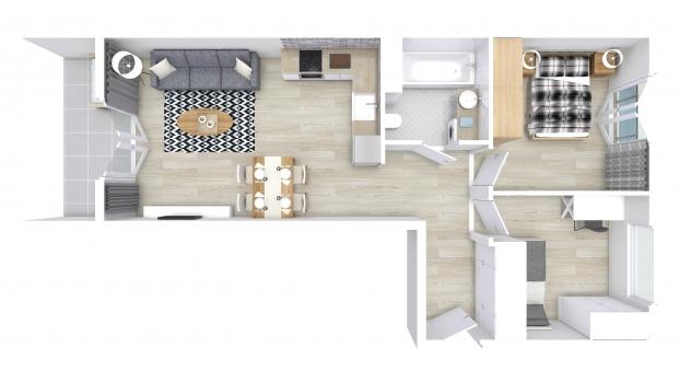 Mieszkanie 55.43 m2
