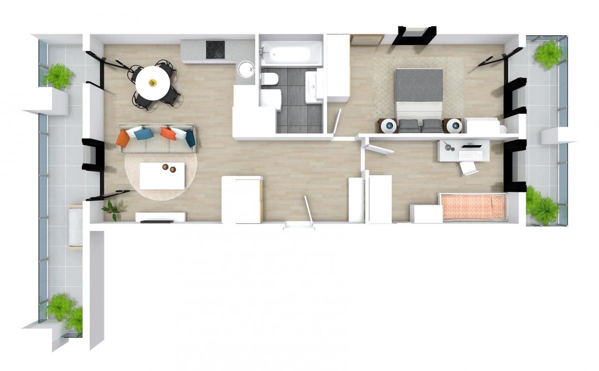 Mieszkanie 62,51 m2, Kwiatkowskiego 4, Rzeszów