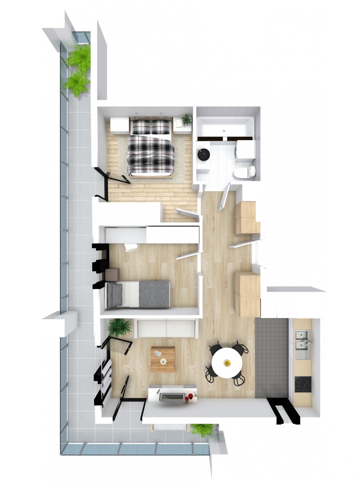 Mieszkanie 49,09 m2, Kwiatkowskiego 4, Rzeszów