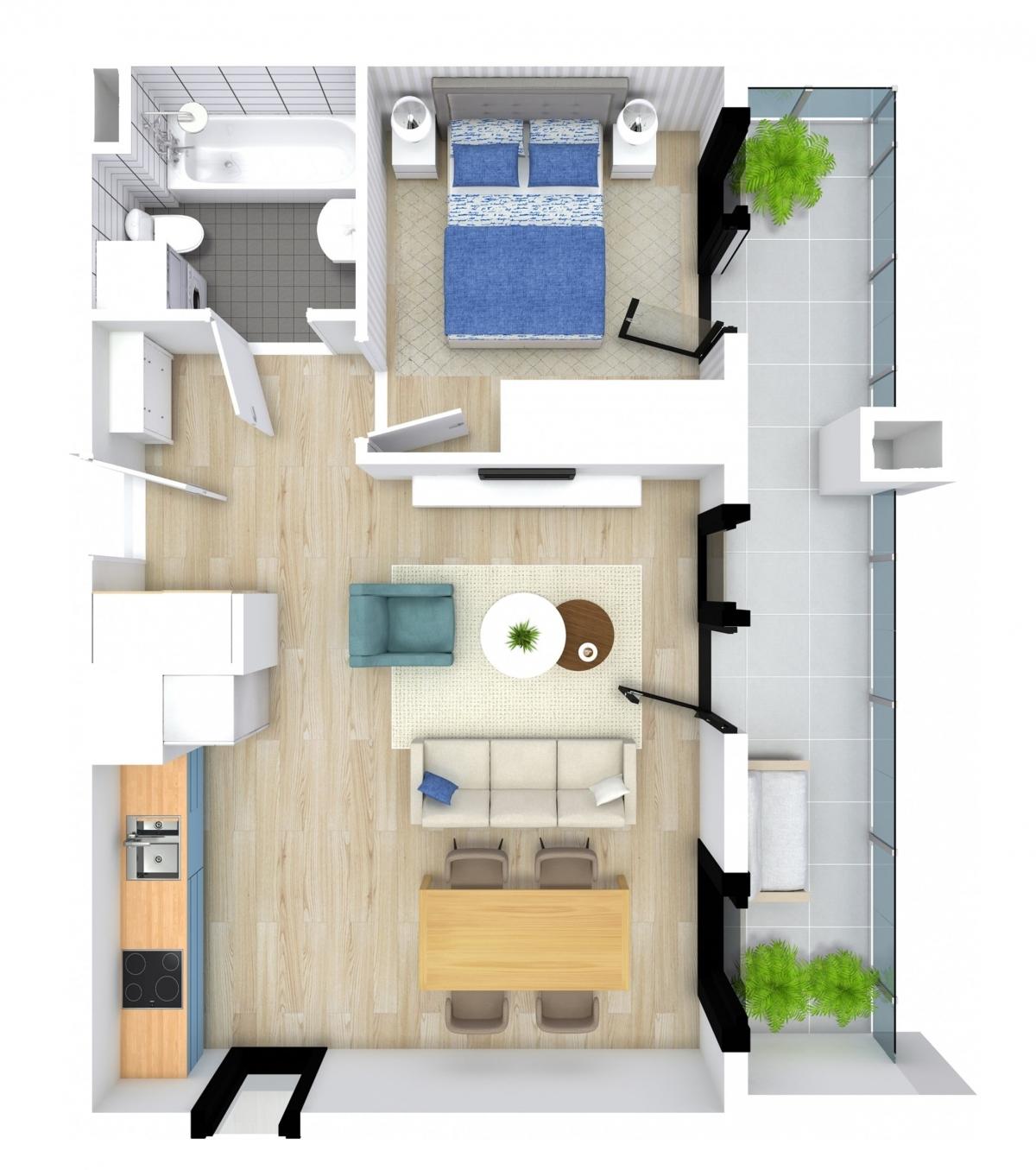 Mieszkanie 44,57 m2, Kwiatkowskiego 4, Rzeszów