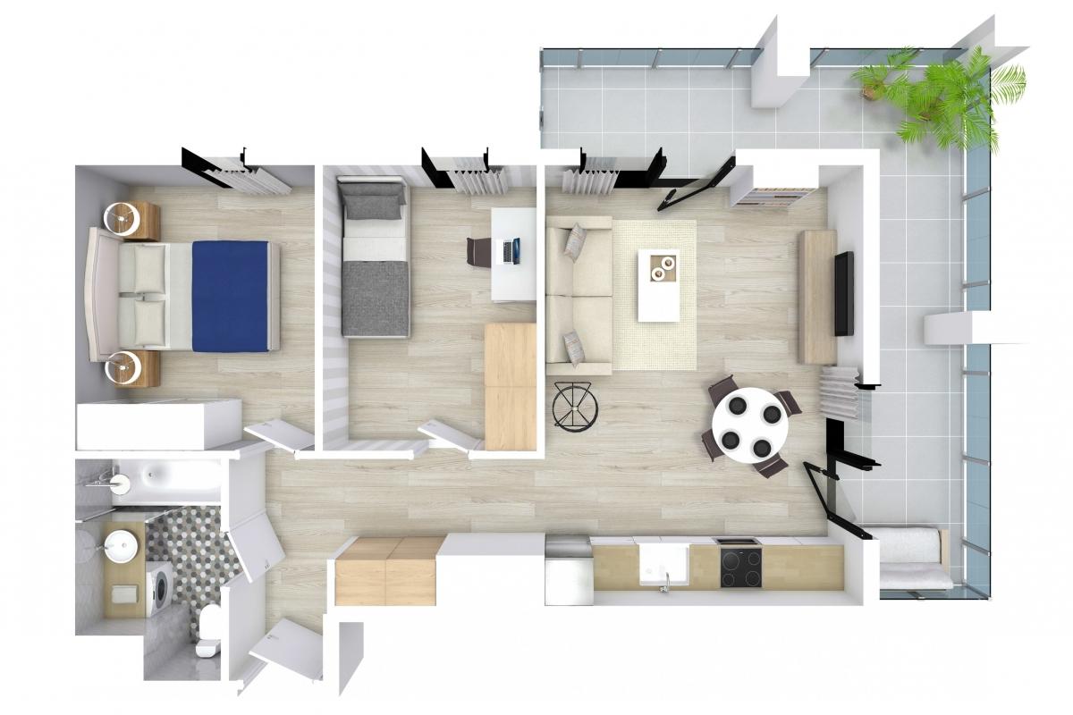 Mieszkanie 52,13 m2, Kwiatkowskiego 4, Rzeszów