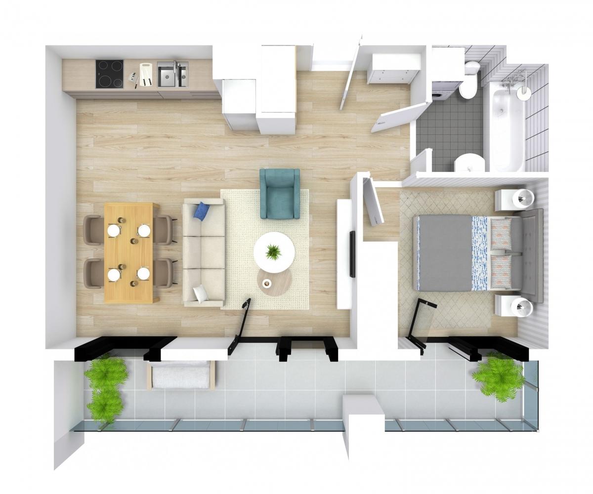 Mieszkanie 44,09 m2, Kwiatkowskiego 4, Rzeszów