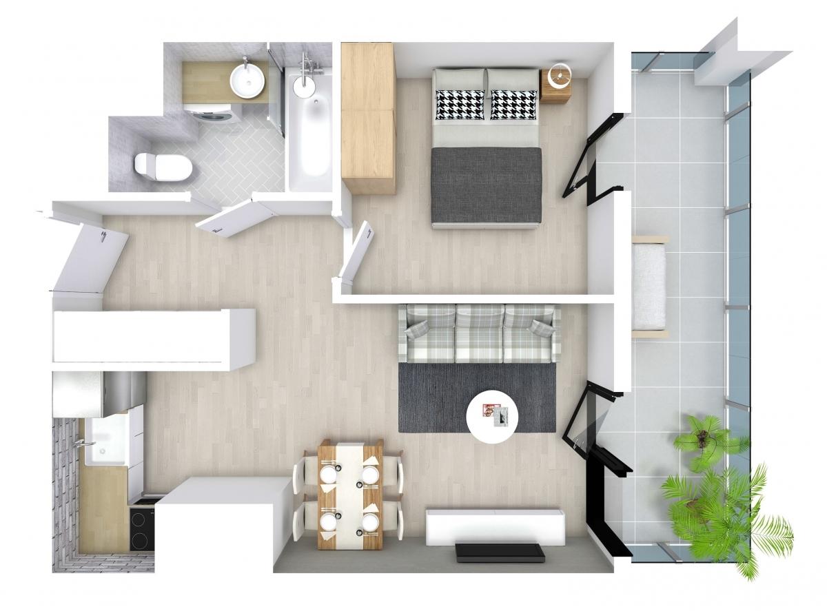 Mieszkanie 34,09 m2, Kwiatkowskiego 4, Rzeszów