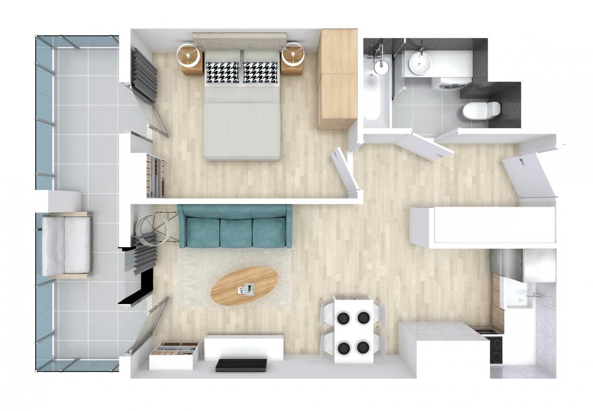 Mieszkanie 40,01 m2, Kwiatkowskiego 4, Rzeszów