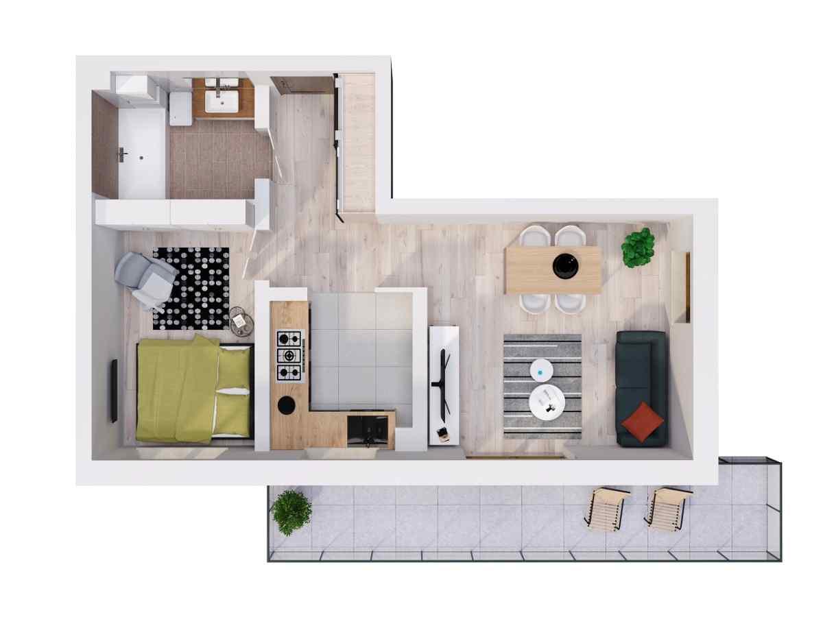 Mieszkanie 44,76 m2, Lubelska, Rzeszów