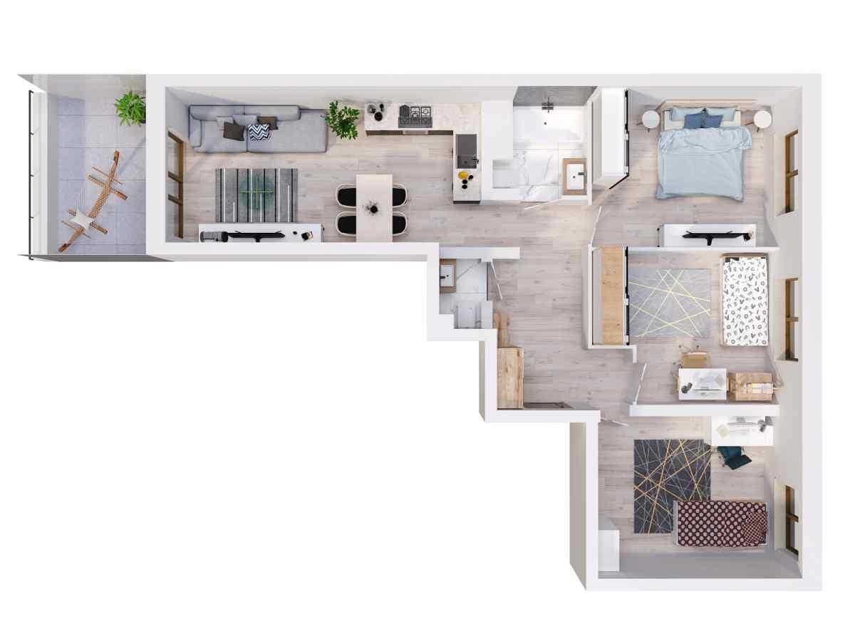 Mieszkanie 76,64 m2, Lubelska, Rzeszów