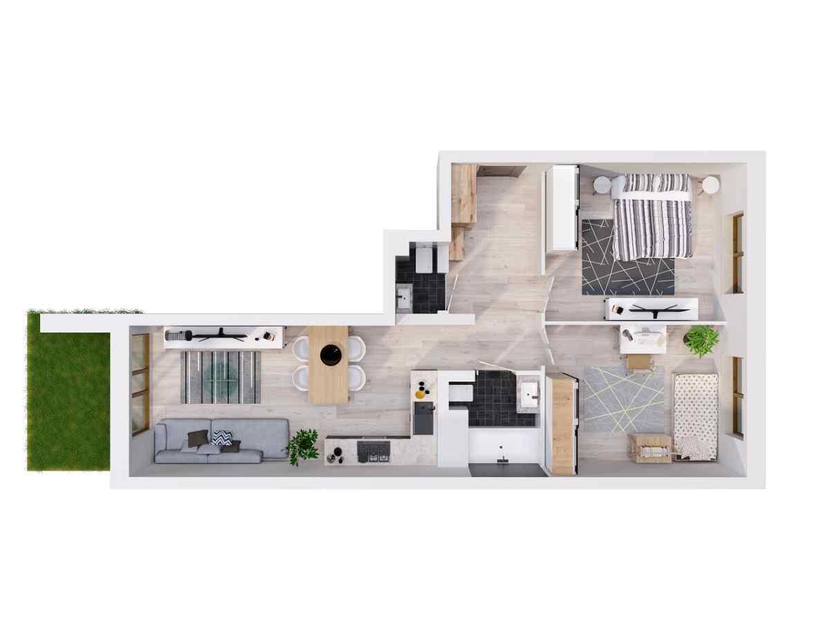 Mieszkanie 64,05 m2, Lubelska, Rzeszów