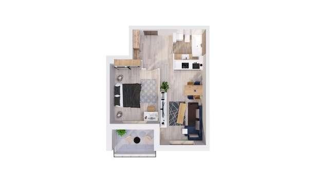 Mieszkanie 44.57 m2