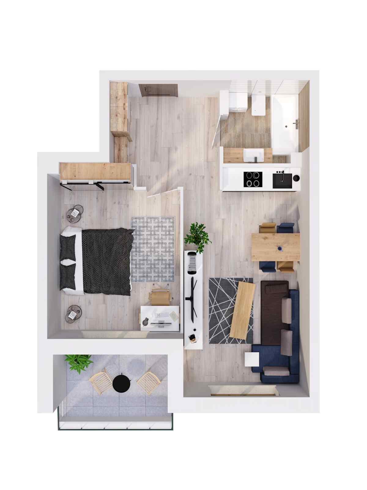 Mieszkanie 44,49 m2, Lubelska, Rzeszów