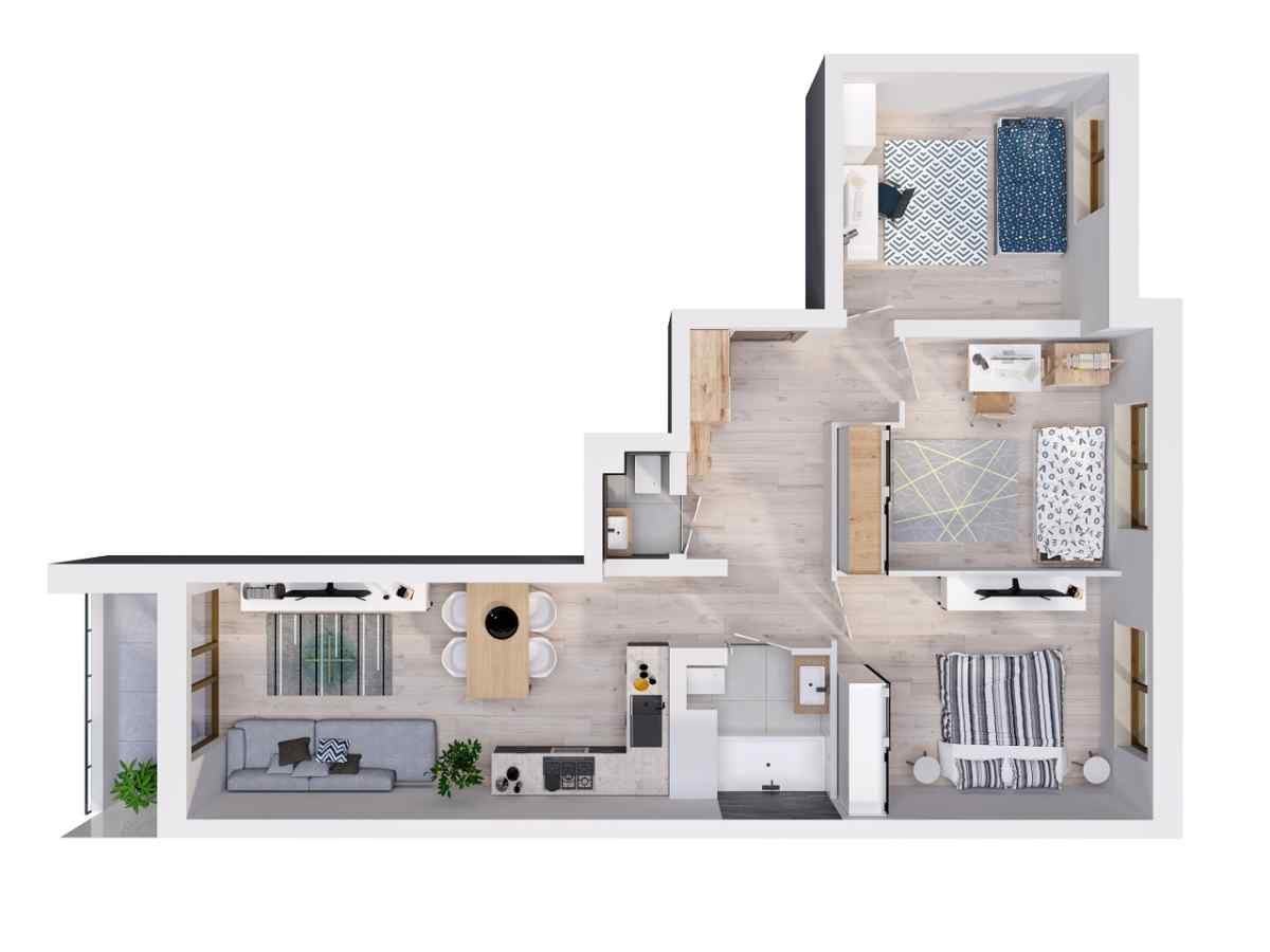 Mieszkanie 75,57 m2, Lubelska, Rzeszów