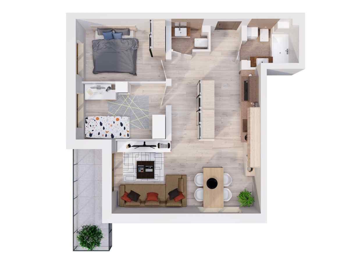 Mieszkanie 57,67 m2, Lubelska, Rzeszów