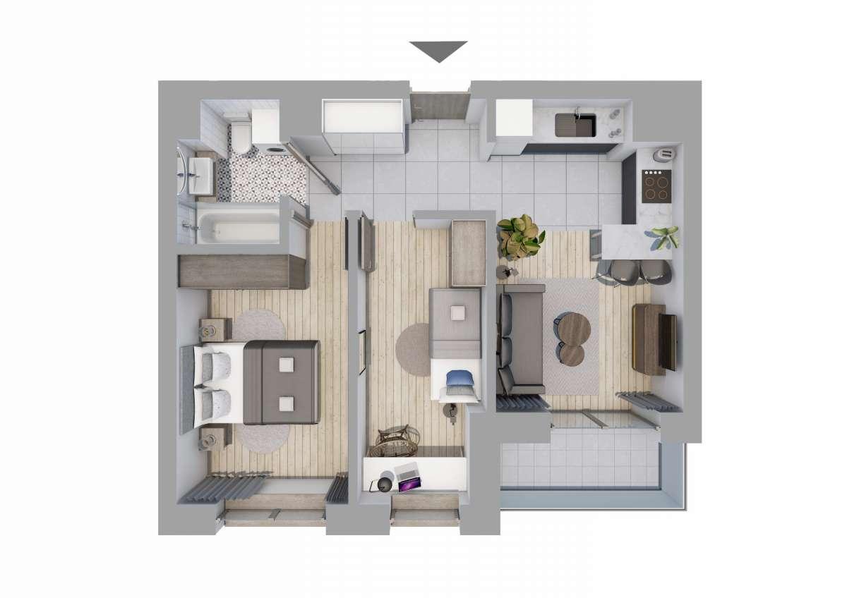 Mieszkanie 47,17 m2, Graniczna, Rzeszów