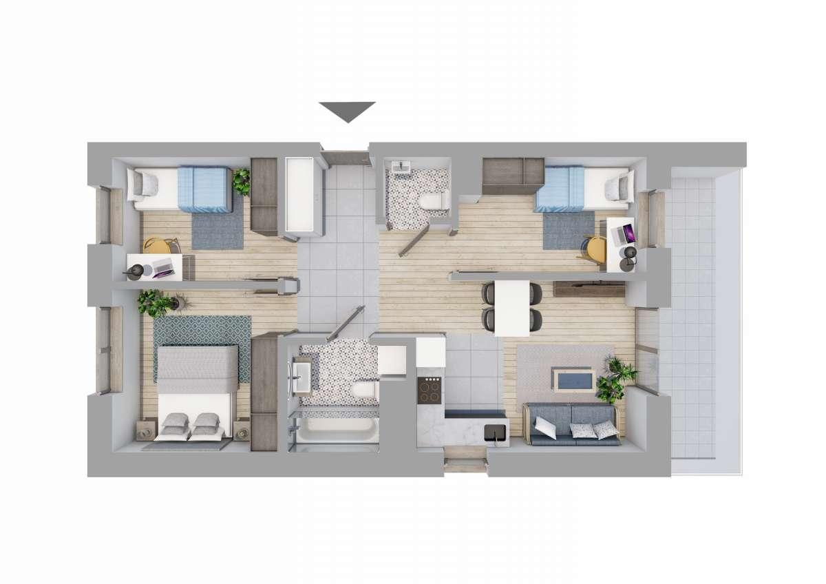 Mieszkanie 59,6 m2, Graniczna, Rzeszów