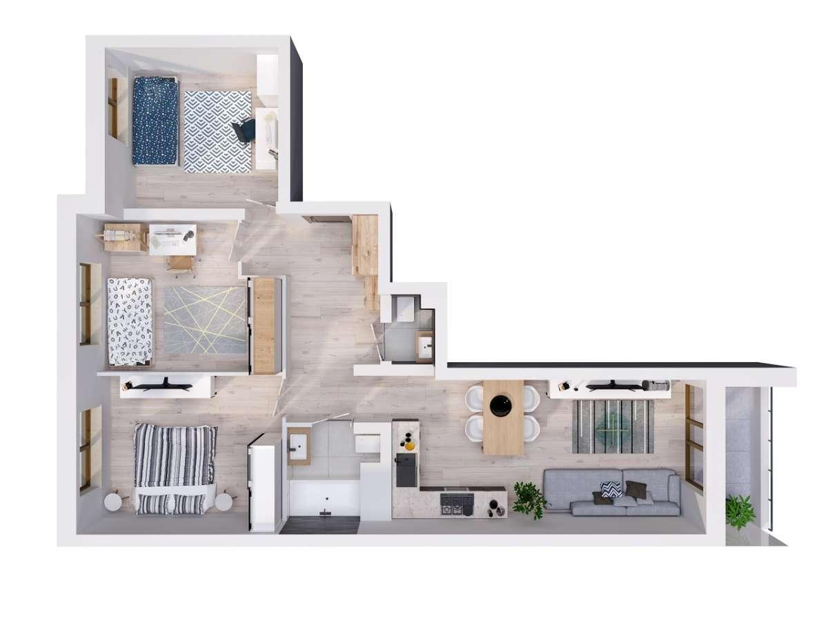 Mieszkanie 69,57 m2, Lubelska, Rzeszów