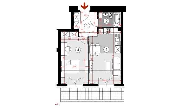 Mieszkanie 46.56 m2