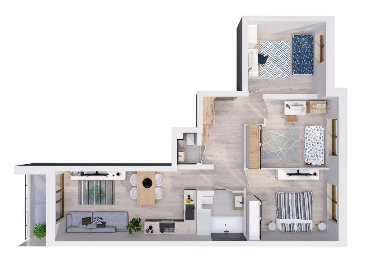 Mieszkanie 70,51 m2, Lubelska, Rzeszów