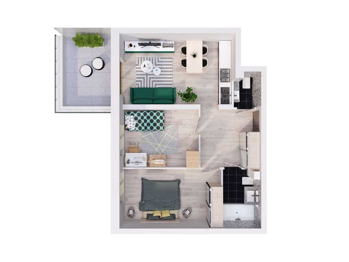 Mieszkanie 51,44 m2, Lubelska, Rzeszów