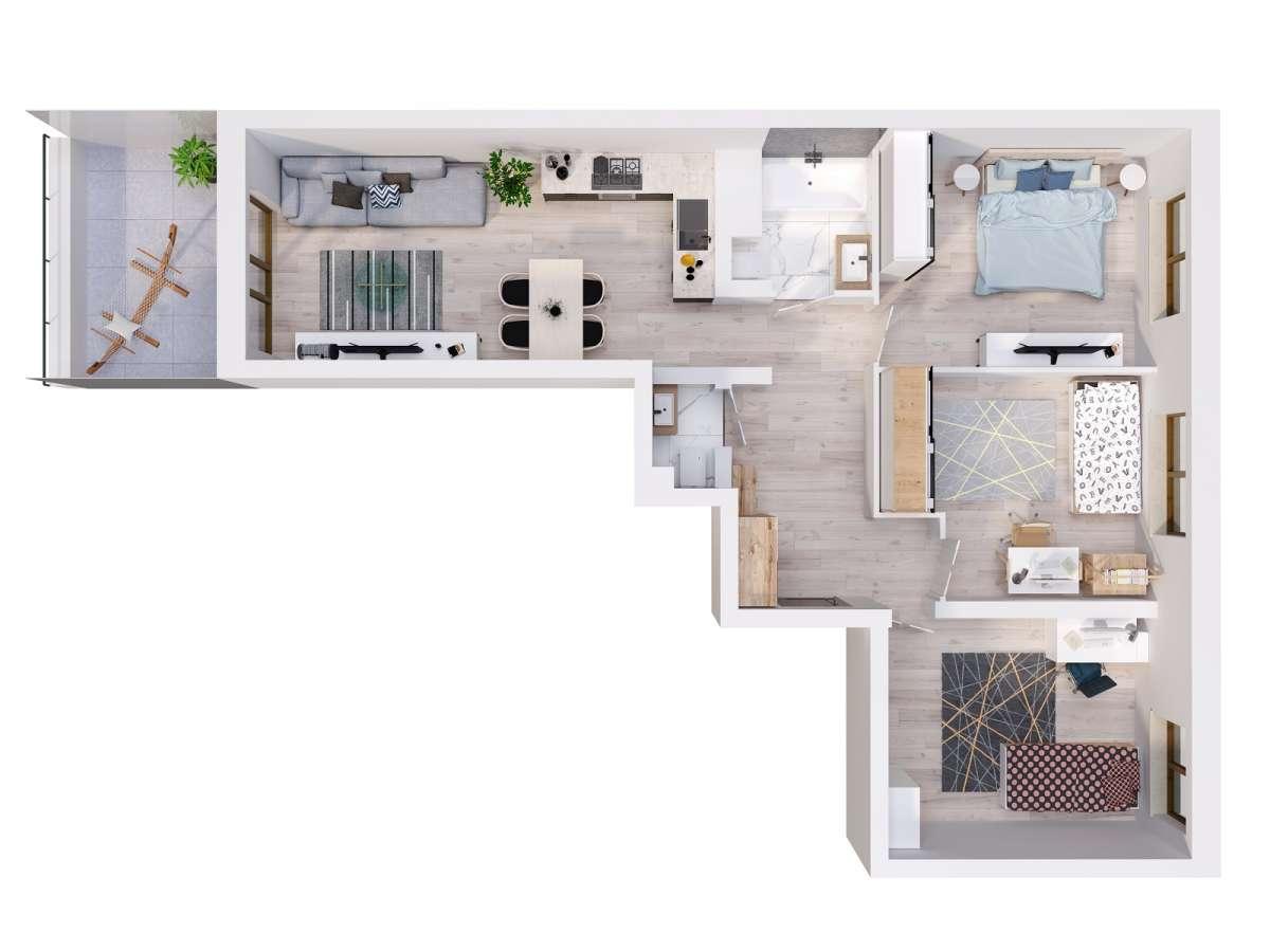 Mieszkanie 70,66 m2, Lubelska, Rzeszów