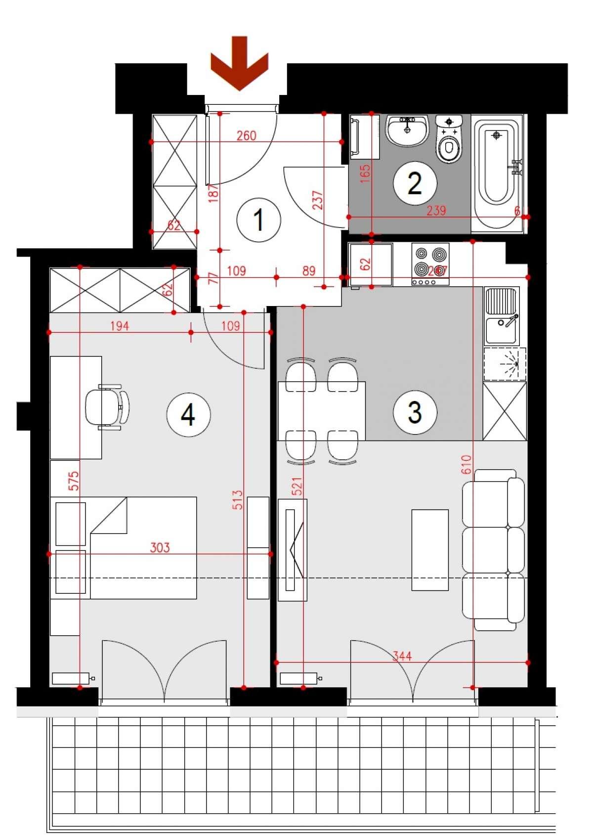Mieszkanie 46,56 m2, Lubelska, Rzeszów