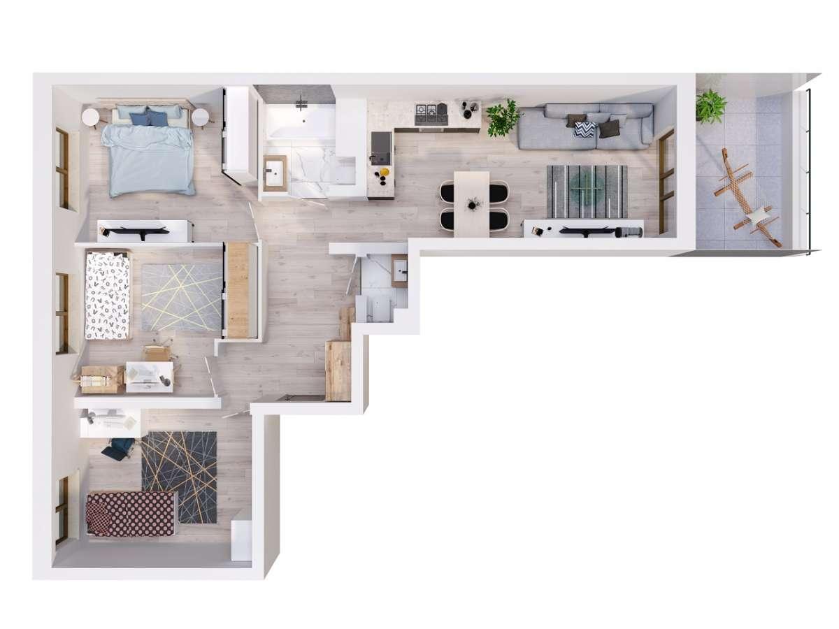 Mieszkanie 71,44 m2, Lubelska, Rzeszów