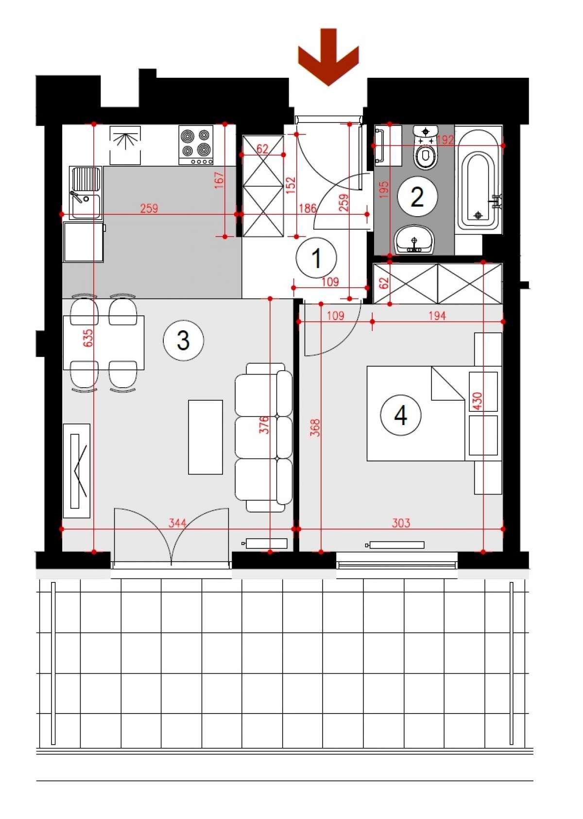 Mieszkanie 39,96 m2, Lubelska, Rzeszów