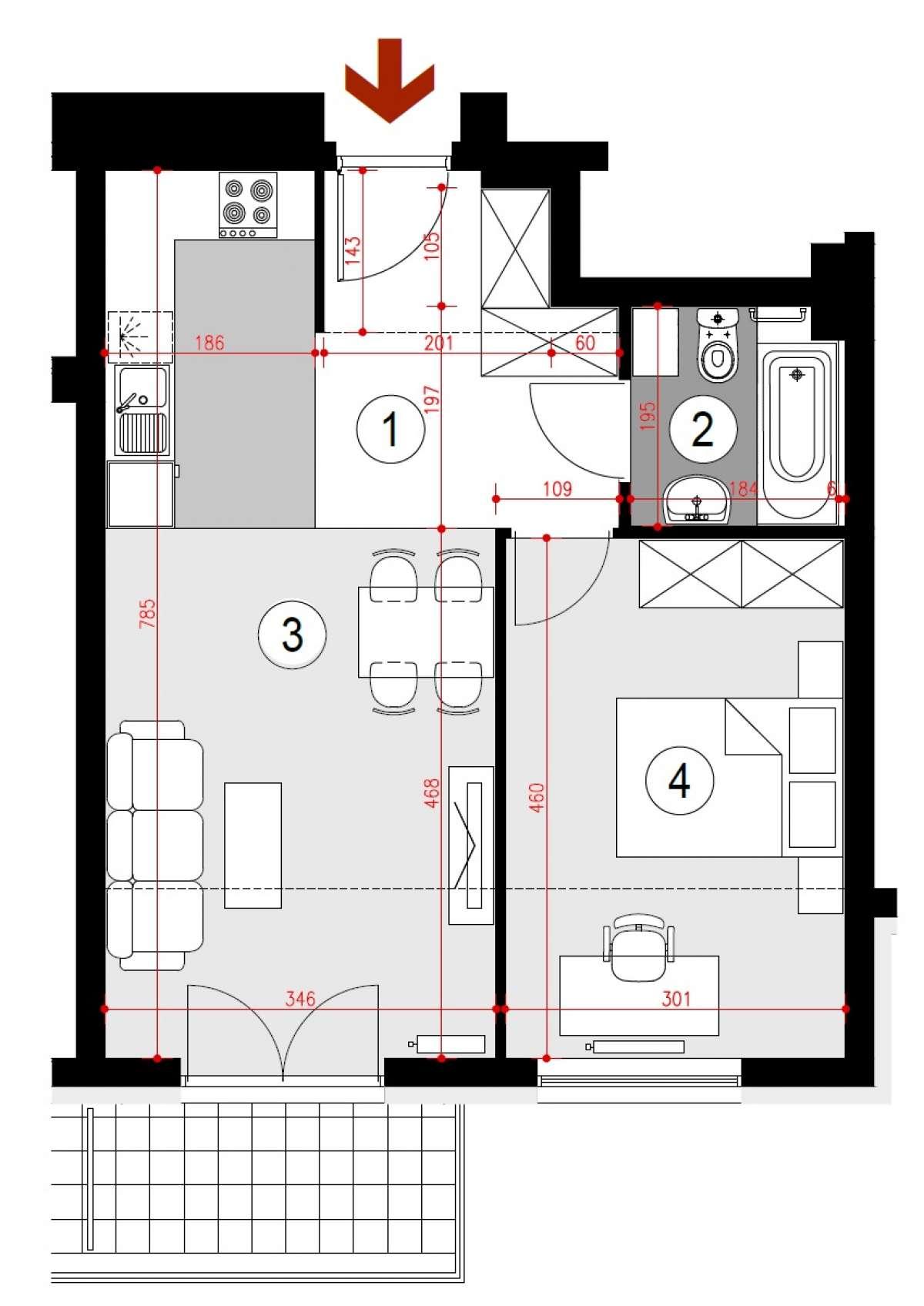 Mieszkanie 46,51 m2, Lubelska, Rzeszów